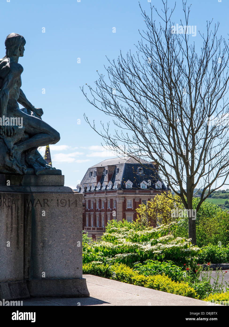 Great War statue and Rougemont Hotel from Northernhay Gardens, Exeter, Devon, England - Stock Image