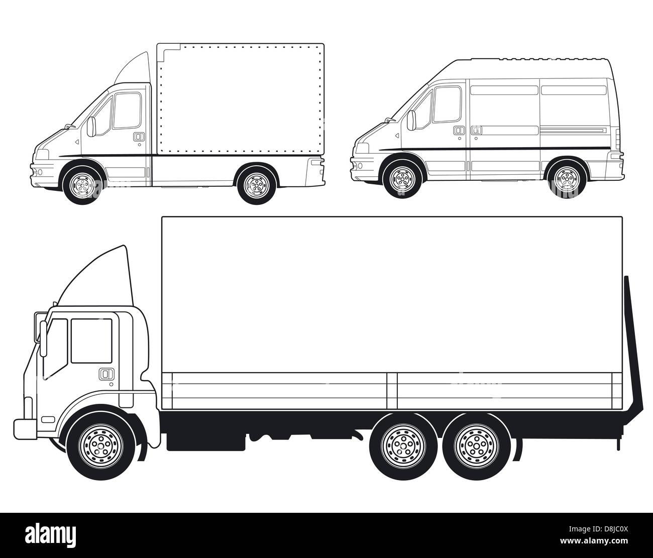 Trucks and vans Stock Photo