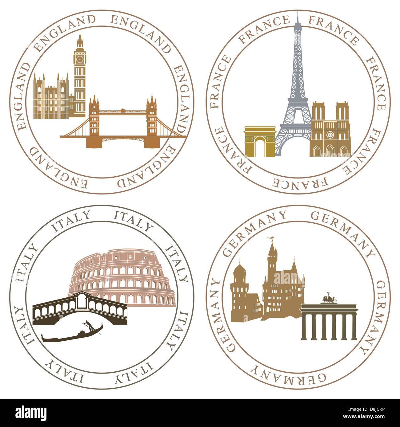 Europe landmarks and main cities - Stock Image