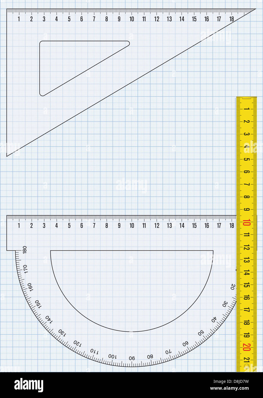 Graph paper and rulers - Stock Image