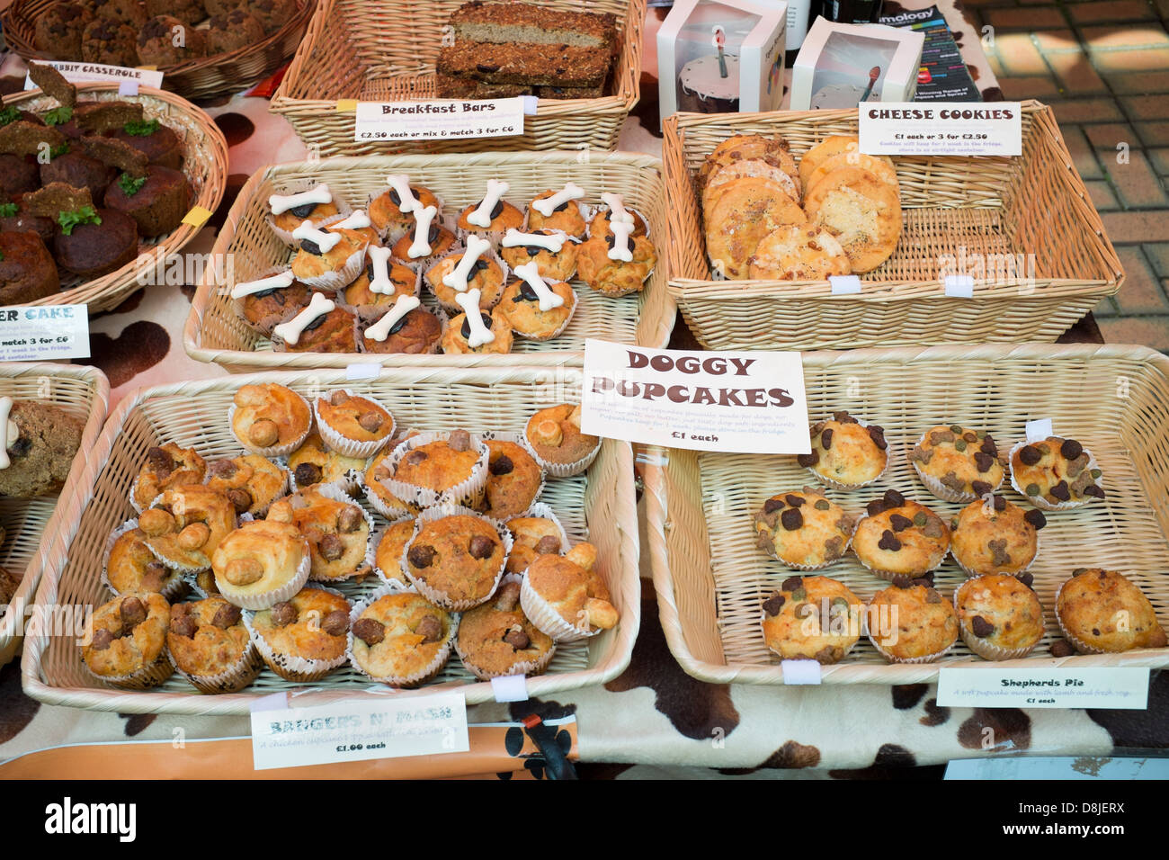 Doggy Pupcakes on sale at Stroud Farmers Market - Stock Image