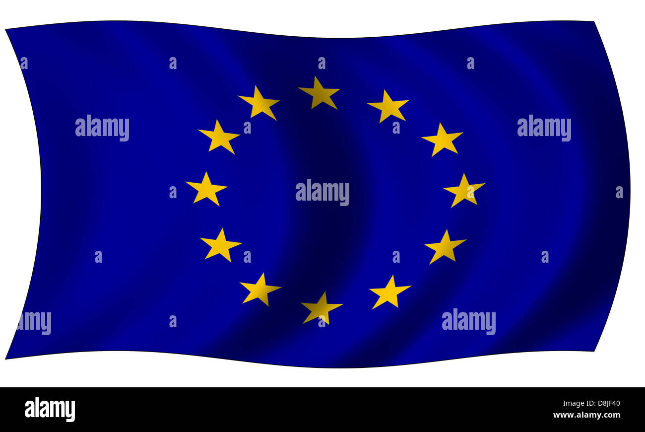 flag of european union in wave - Stock Image