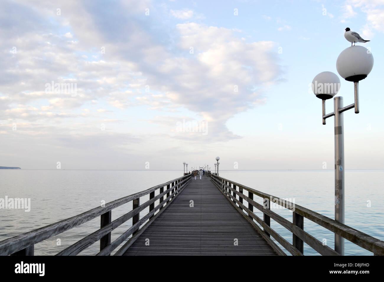 Pier in the evening, Binz, Ruegen Island, Germany Stock Photo