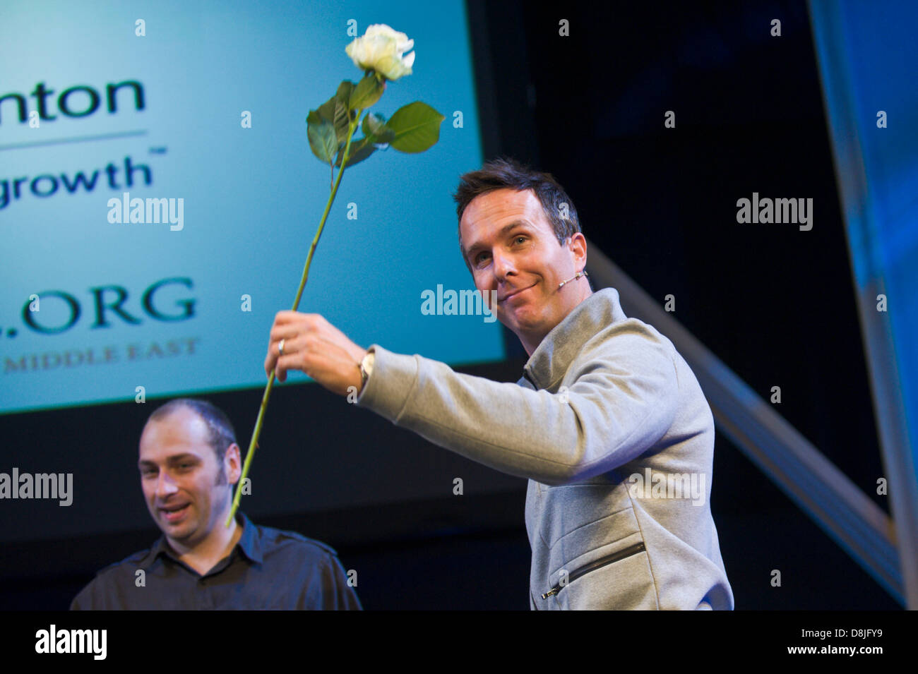 Michael Vaughan batsman and former England Cricket Test captain speaking at Hay Festival 2013 Hay on Wye Powys Wales Stock Photo