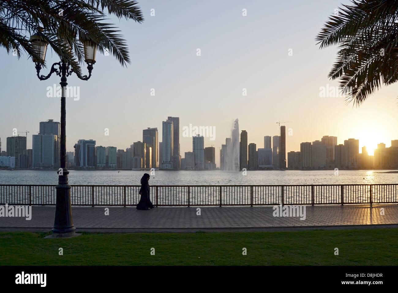 People on the Golden Mile, Sharjah, United Arab Emirates - Stock Image