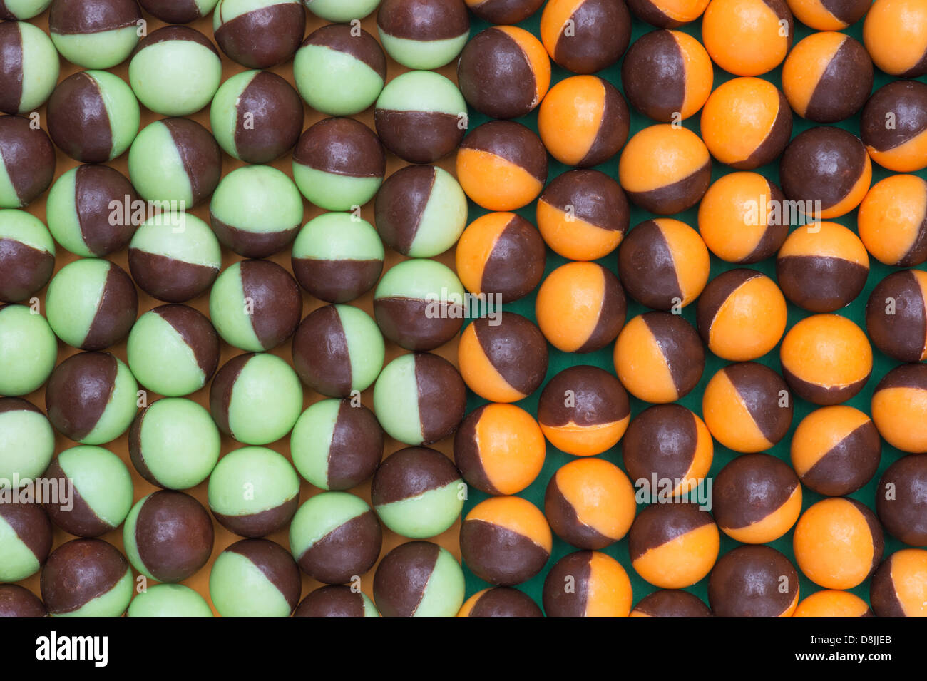 Nestle Aero bubbles two toned pattern. Chocolate sweets pattern from above - Stock Image