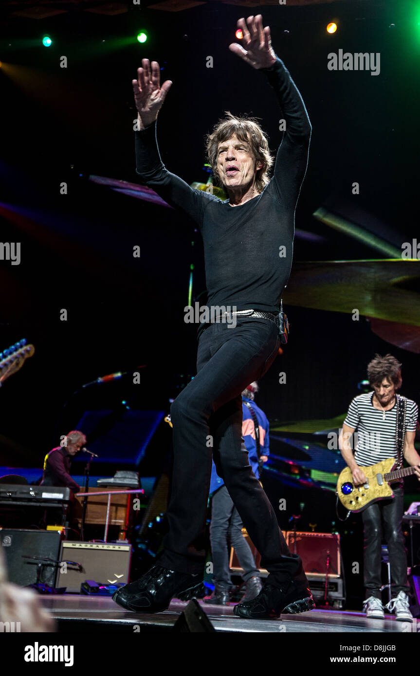 Mick Jagger, lead singer of The Rolling Stones performs during their '50 and Counting' tour in Toronto, - Stock Image