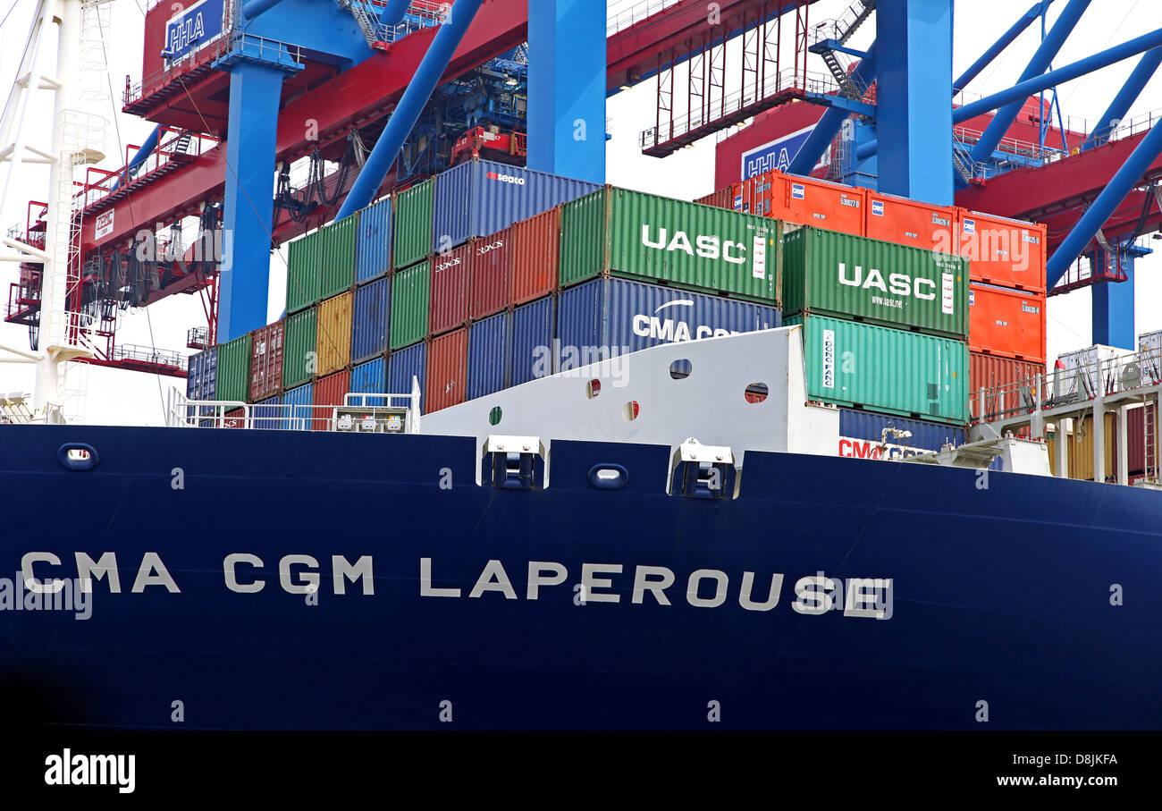 CMA CGM Laperouse at Burchardkai, Hamburg - Stock Image