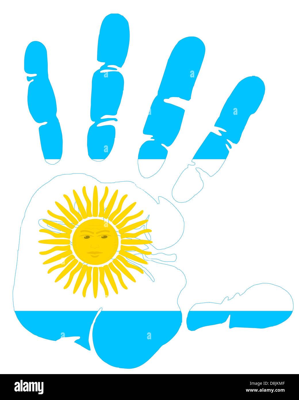 Argentina flag handprint - Stock Image