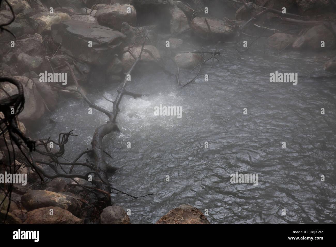 Fumaroles, boiling water and steam, Rincon de la Vieja National Park, Costa Rica Stock Photo