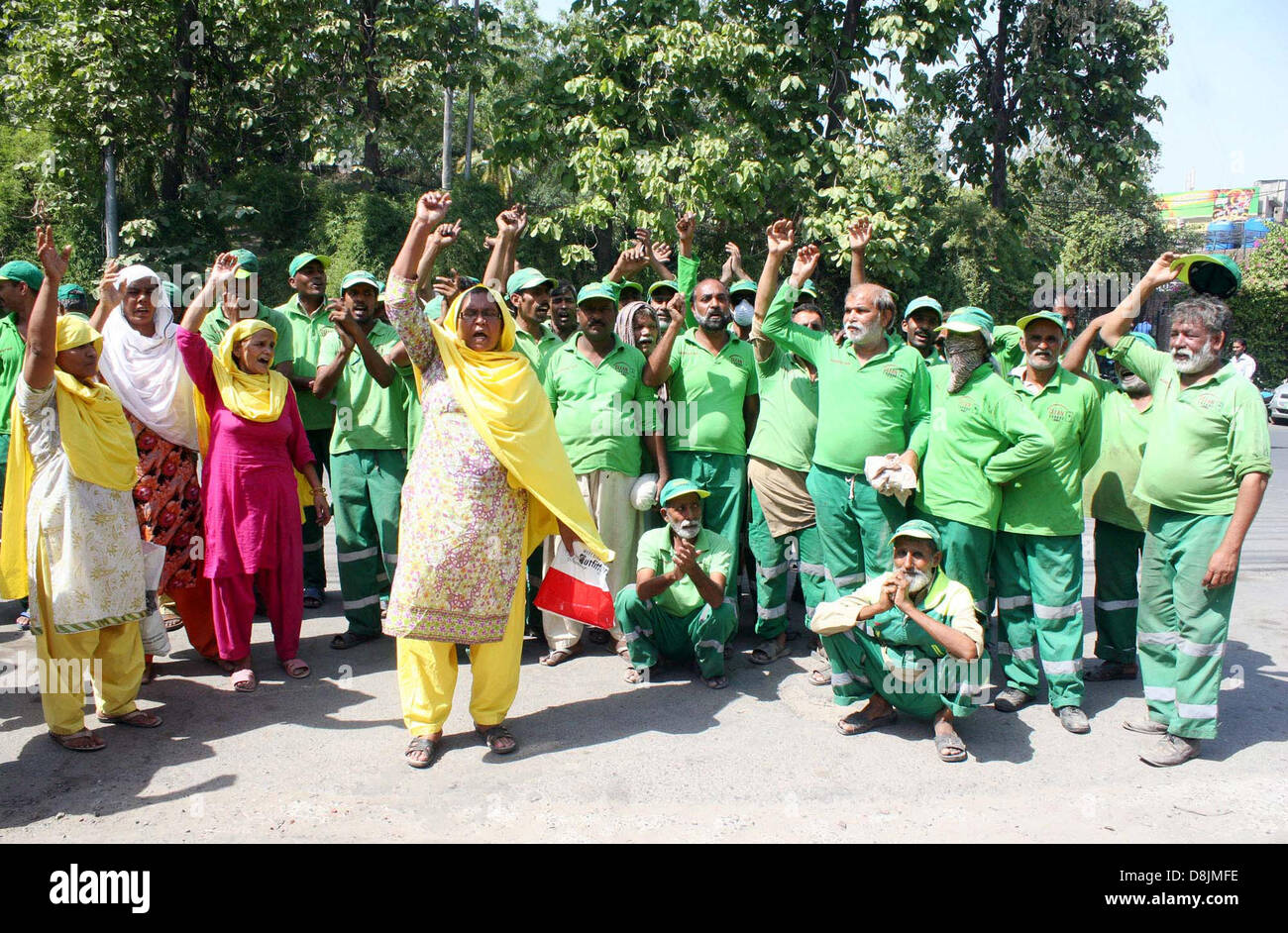 Sweepers of Lahore Waste Management Company (LWMC) chant