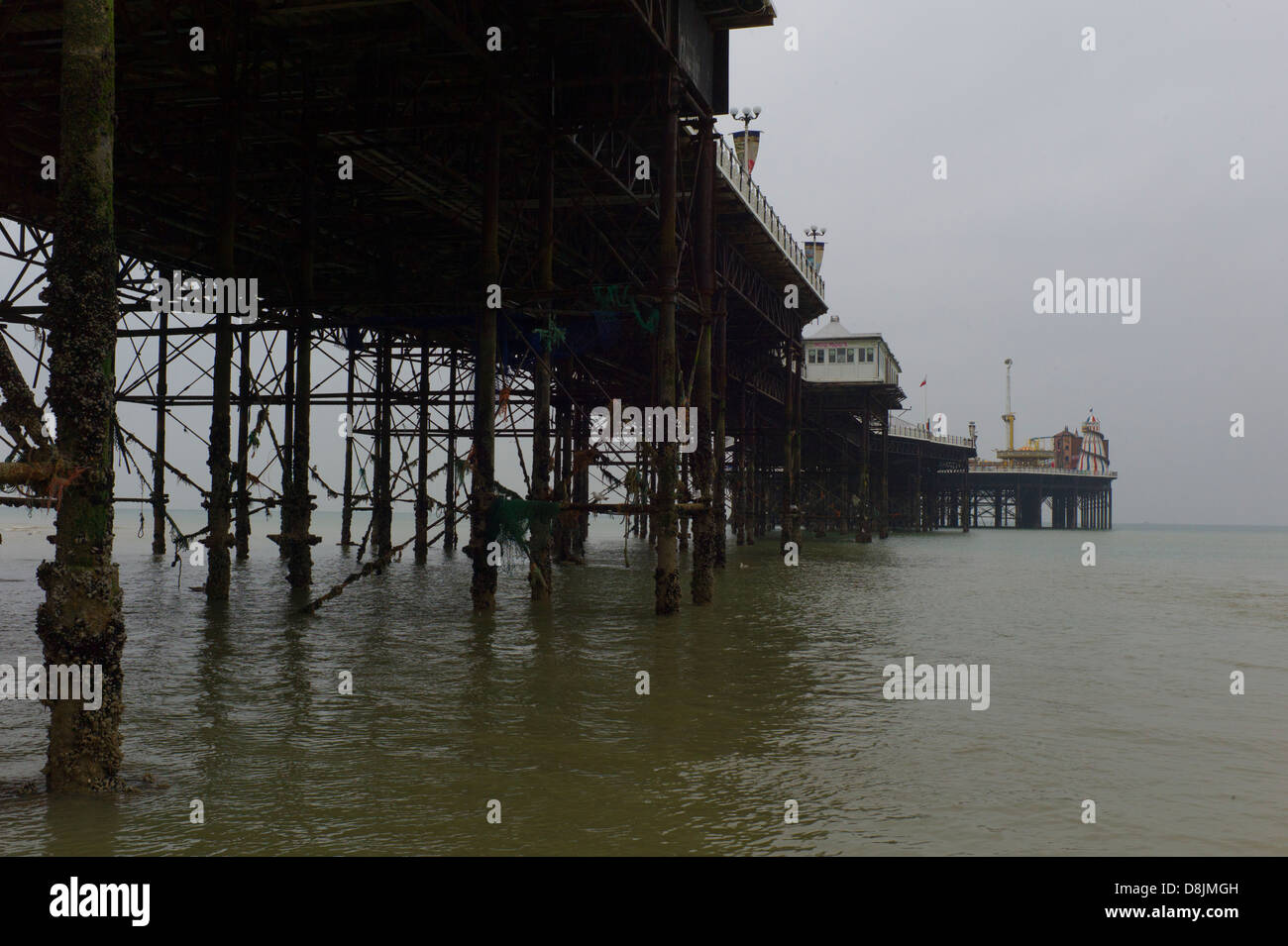 Beneath Brighton Pier, low tide Stock Photo