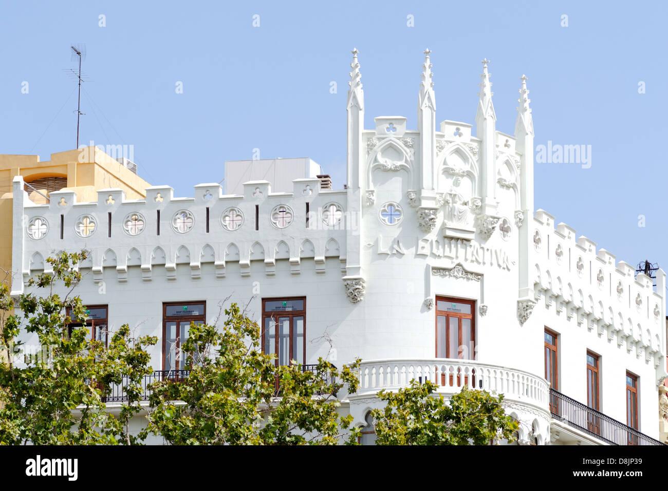 Architecture, historic facades, Valencia, Spain - Stock Image