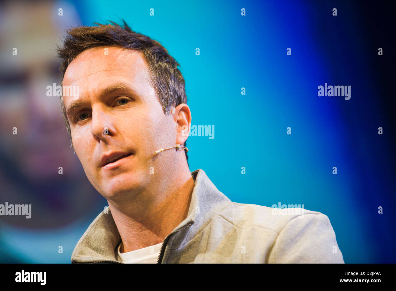 Michael Vaughan batsman and former England Cricket Test captain speaking at Hay Festival 2013 Hay on Wye Powys Wales - Stock Image