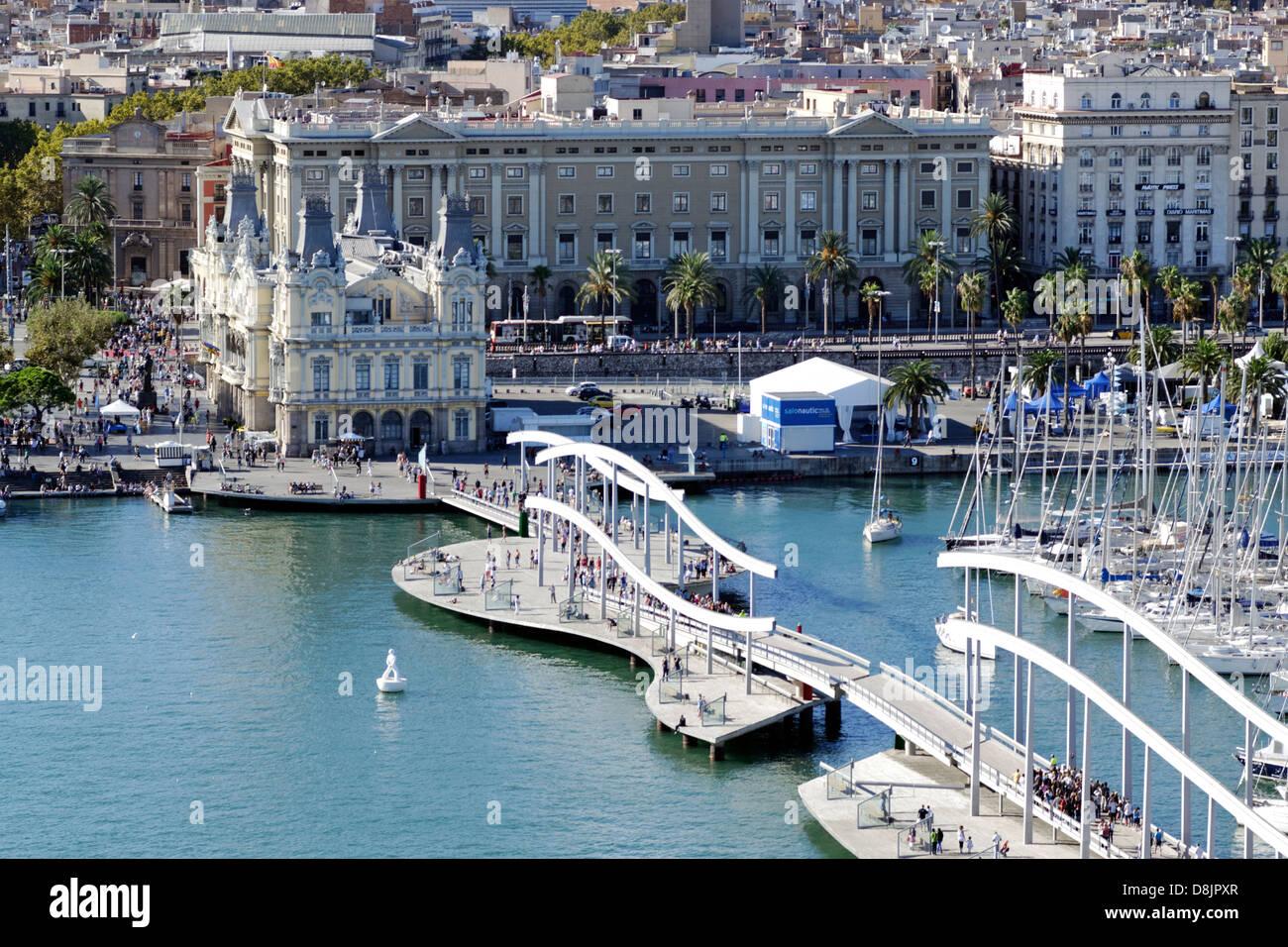 Old harbor Port Vell, Barcelona, Spain - Stock Image