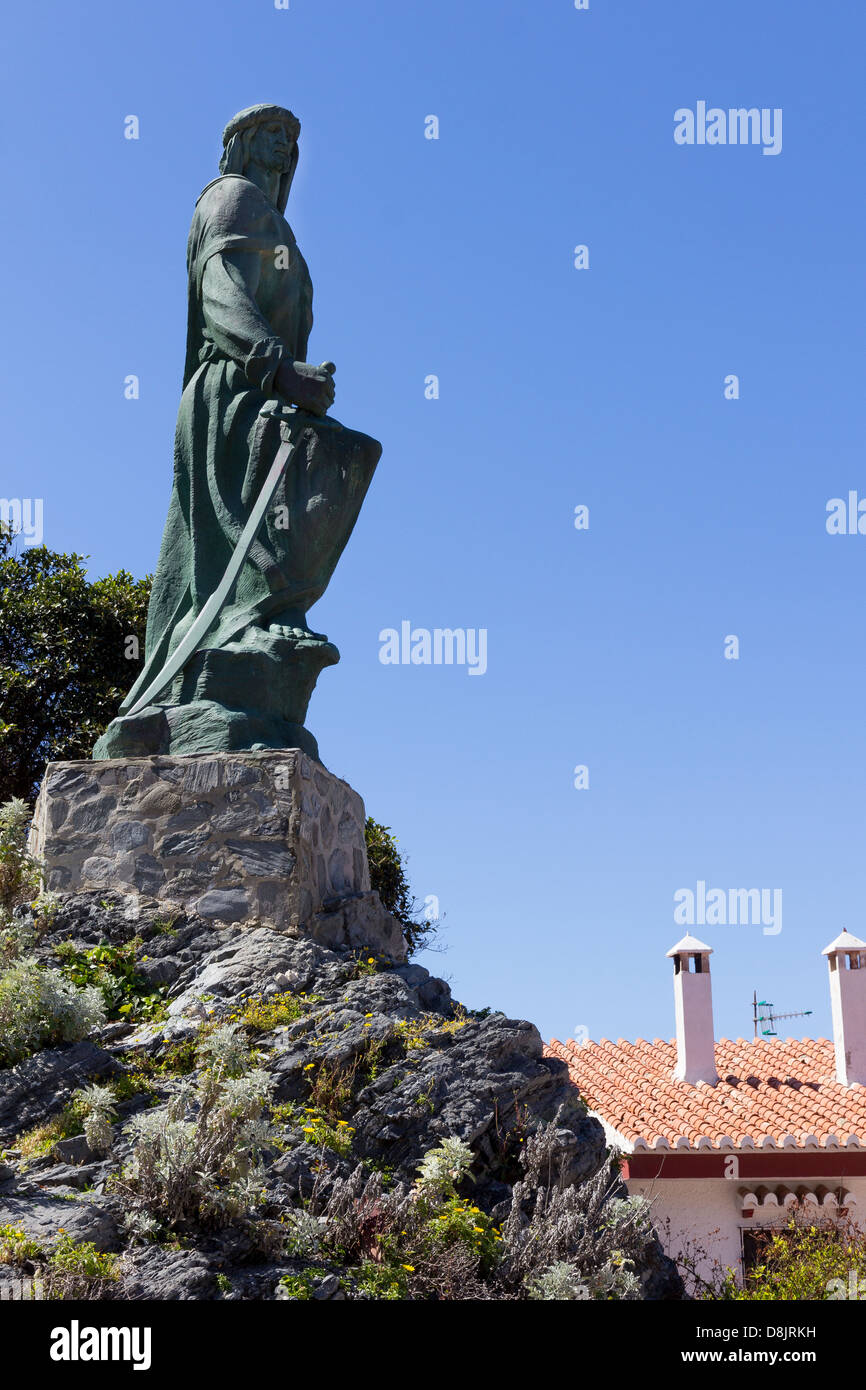 The statue of Abd-ar-Rahman I, founder of Cordoba who landed at Almunecar, Costa Tropical, Andalucia, Spain - Stock Image
