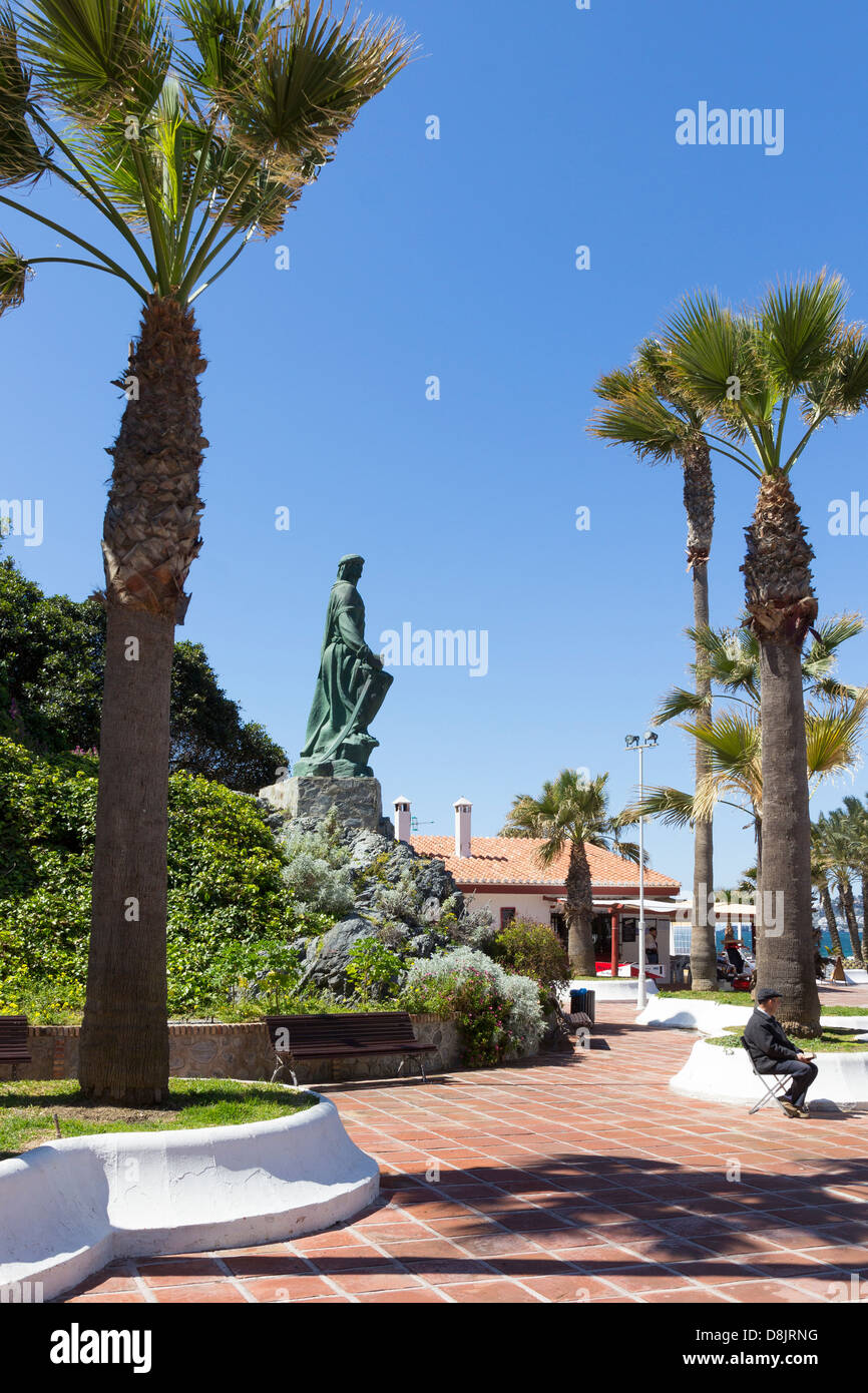 The statue of Abd-ar-Rahman I, founder of Cordoba who landed on the seafront at Almunecar, Costa Tropical, Andalucia, - Stock Image