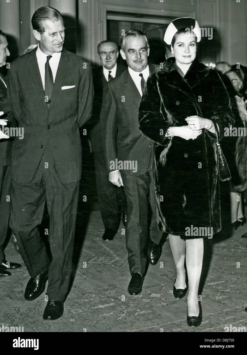 PRINCE PHILLIP at left with Prince Ranier and his wife Princess Grace about 1964 - Stock Image