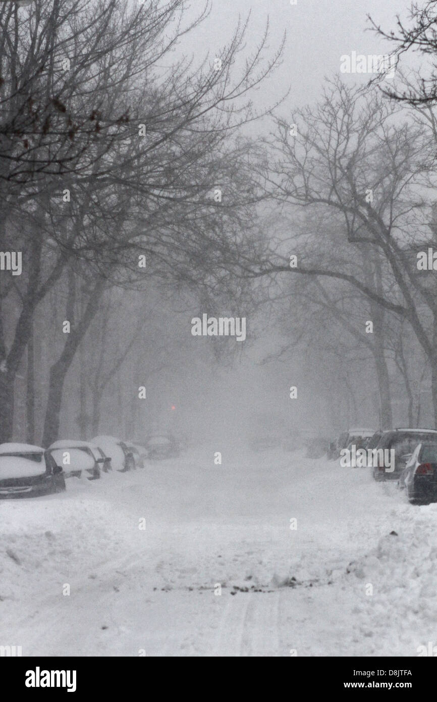 Snow covering the streets and sidewalks in the Plateau of Montreal, Quebec. - Stock Image