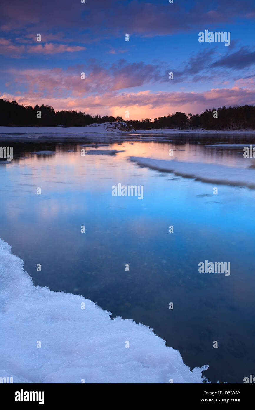Winter landscape at Larkollen in Rygge kommune, Østfold fylke, Norway. - Stock Image