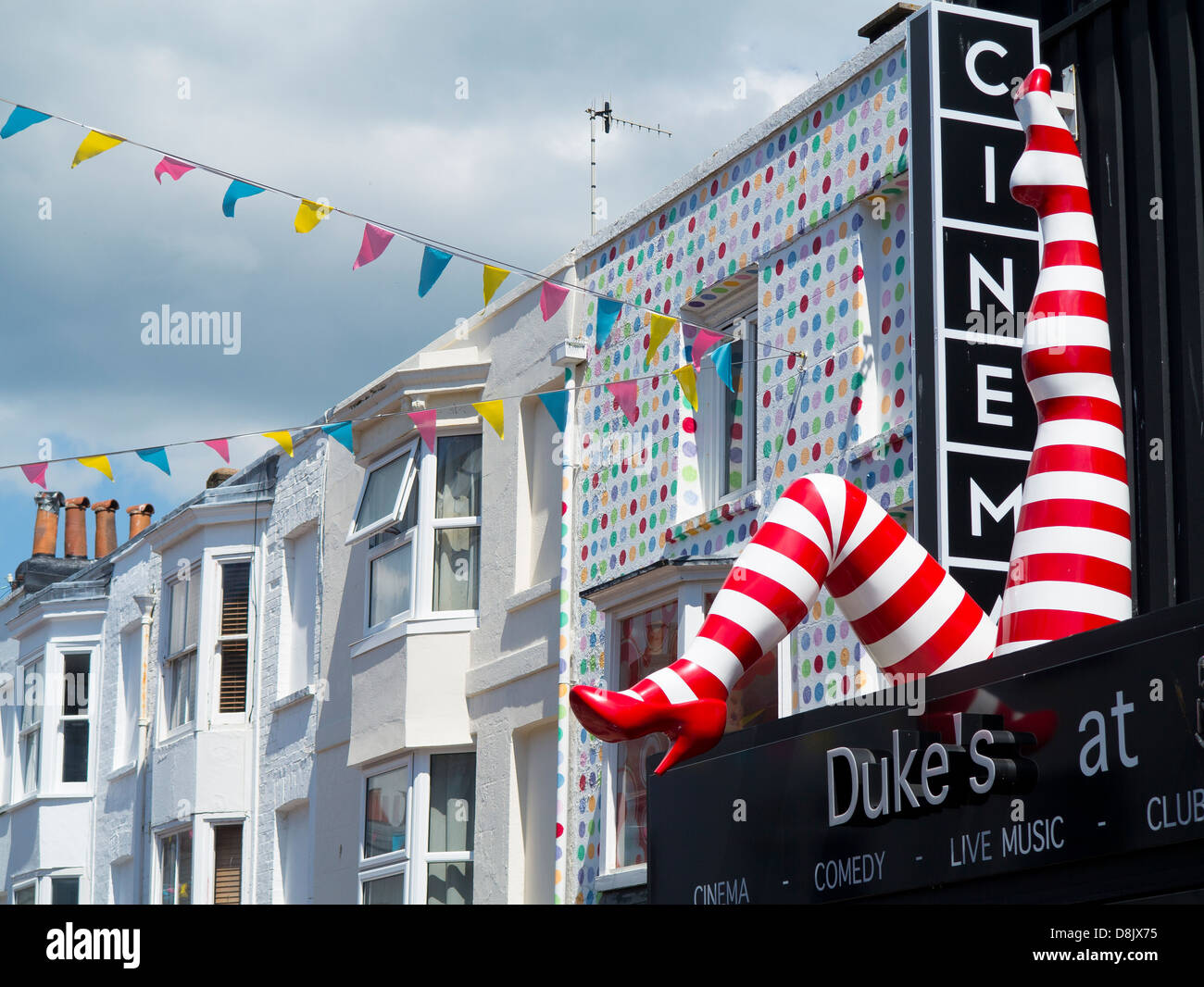 Brighton's Dukes at Komedia cinema owned by the Picturehouse cinema chain - decorative legs of can-can dancer - Stock Image