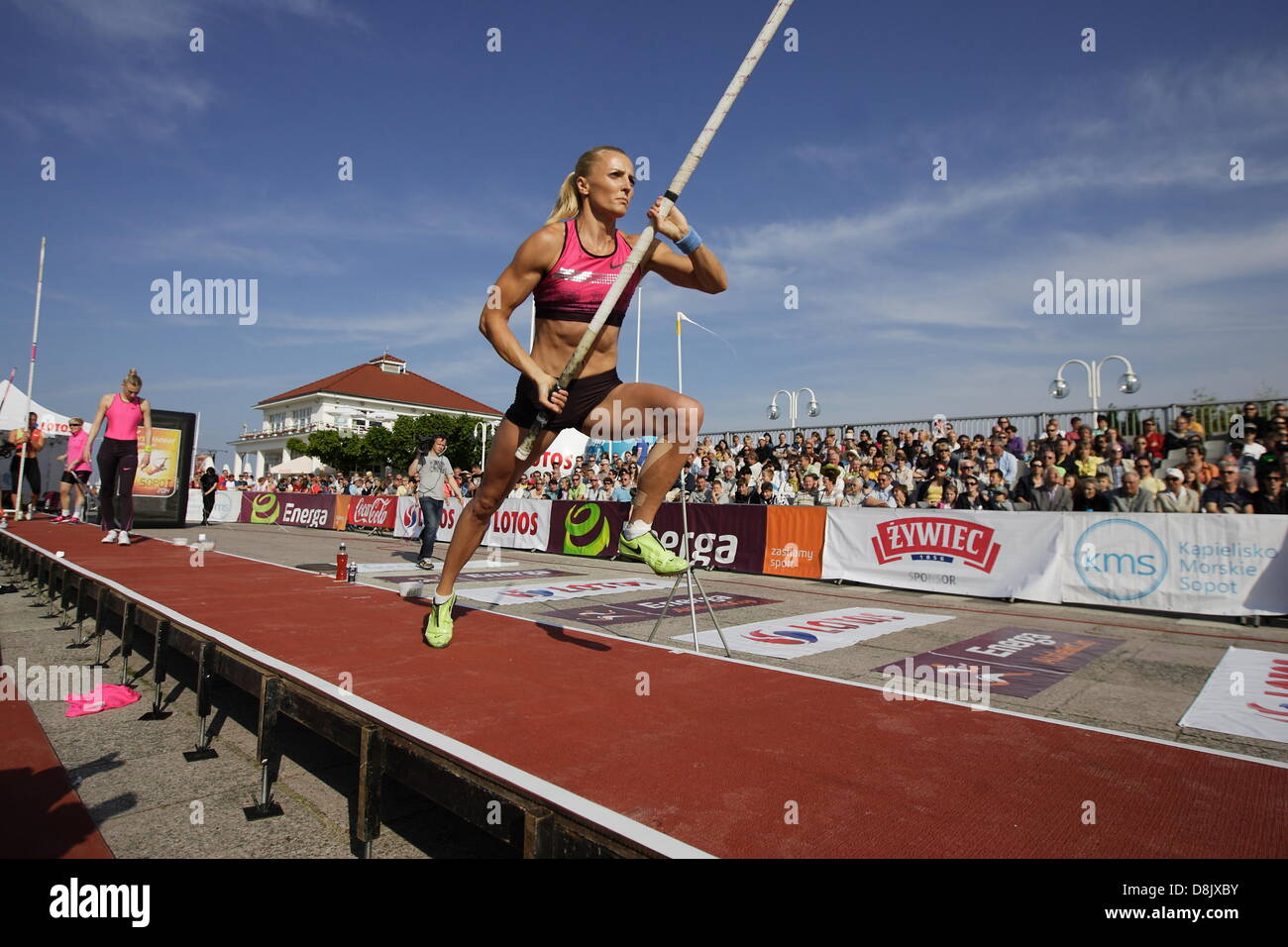 "Sopot, Poland 30th, May 2013 The ""Pole Vault on Pier"" in Sopot competition near the Sopot's Pier. Anna Rogowska - Stock Image"