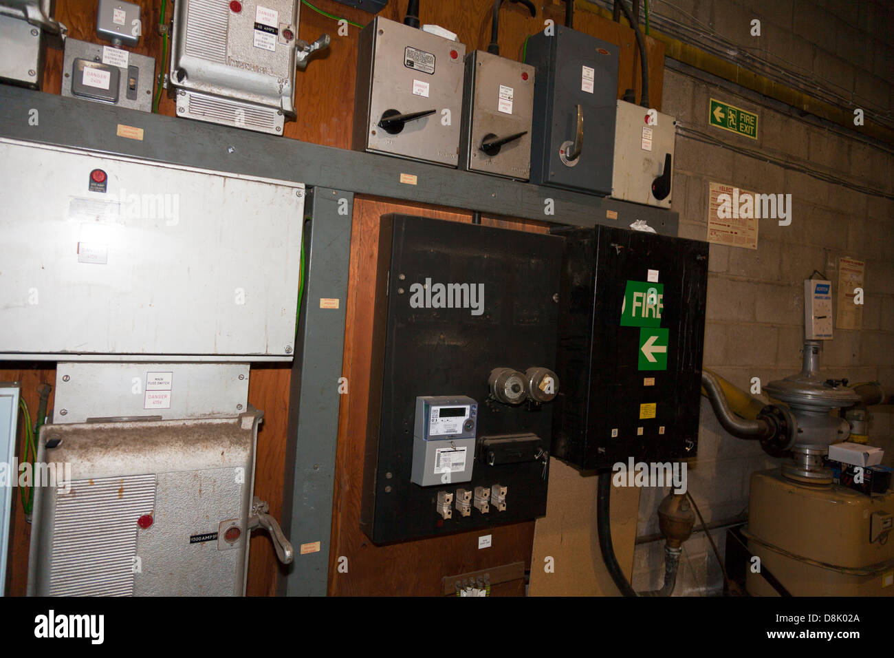 Wall of electrical switches for power to lights and machinery in ...