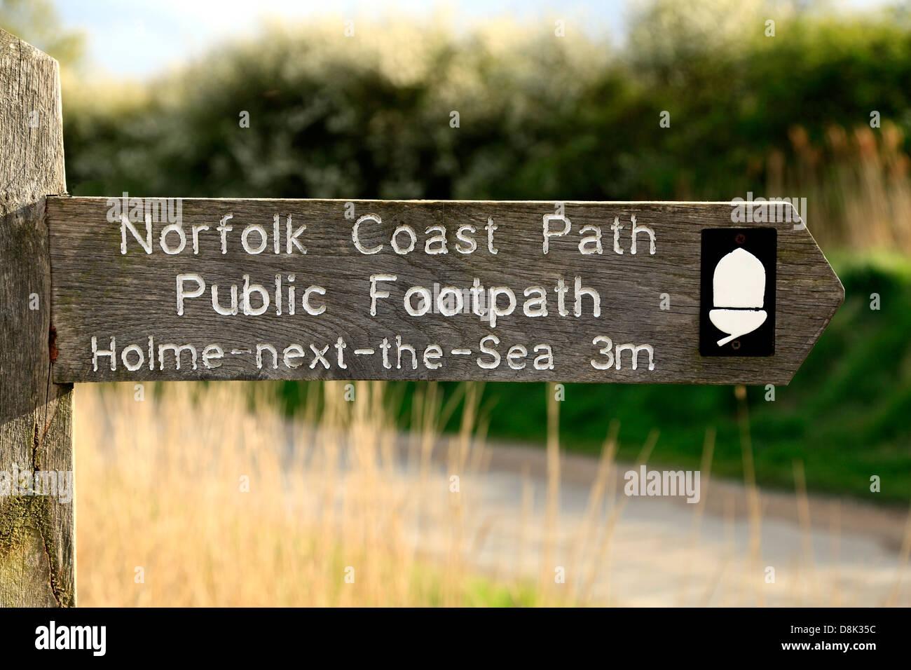 North Norfolk Coast Path, fingerpost, signpost, waymark, public footpath sign signs, England UK - Stock Image