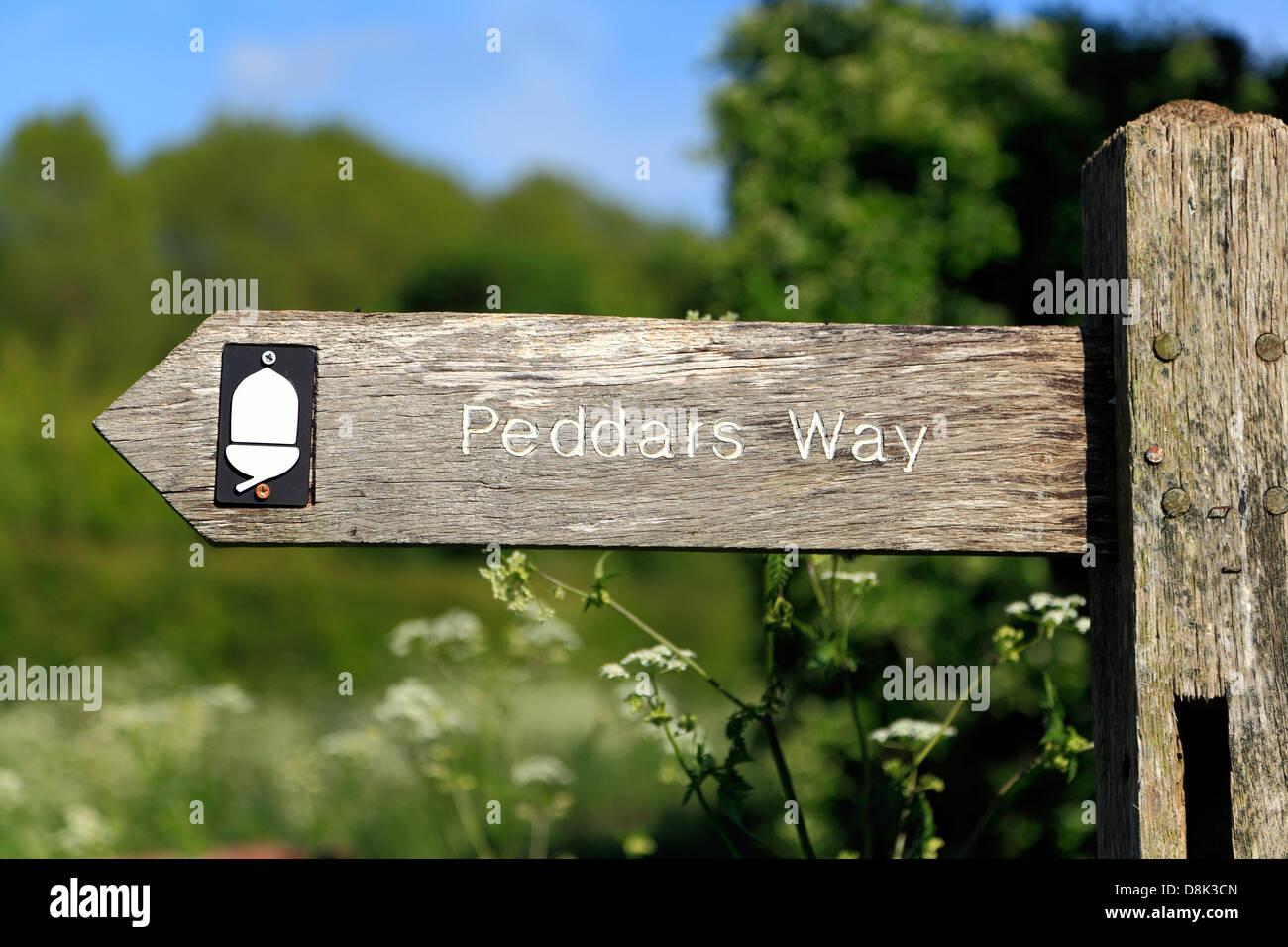 Peddars Way, fingerpost, Norfolk, signpost, sign, waymark, public footpath, England UK, signs - Stock Image