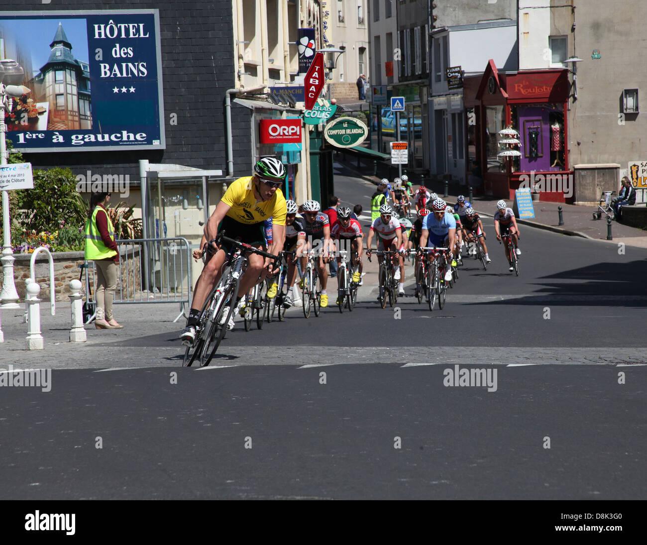 Tour De La Manche Cycliste - A bicycle race in Granville, Normandy, France in 2013. - Stock Image