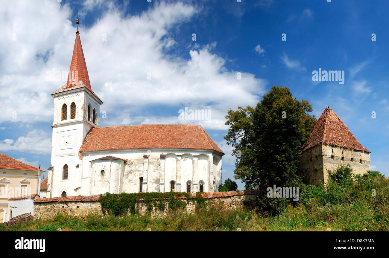 Old saxon fortified church built XIV in Beia village, Transylvania, Romania - Stock Image