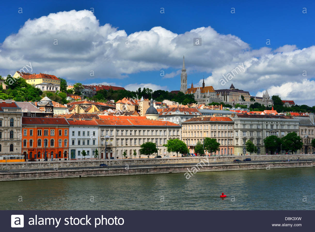 View of Buda and Fishermans bastion from Chain bridge in Budapest - Stock Image