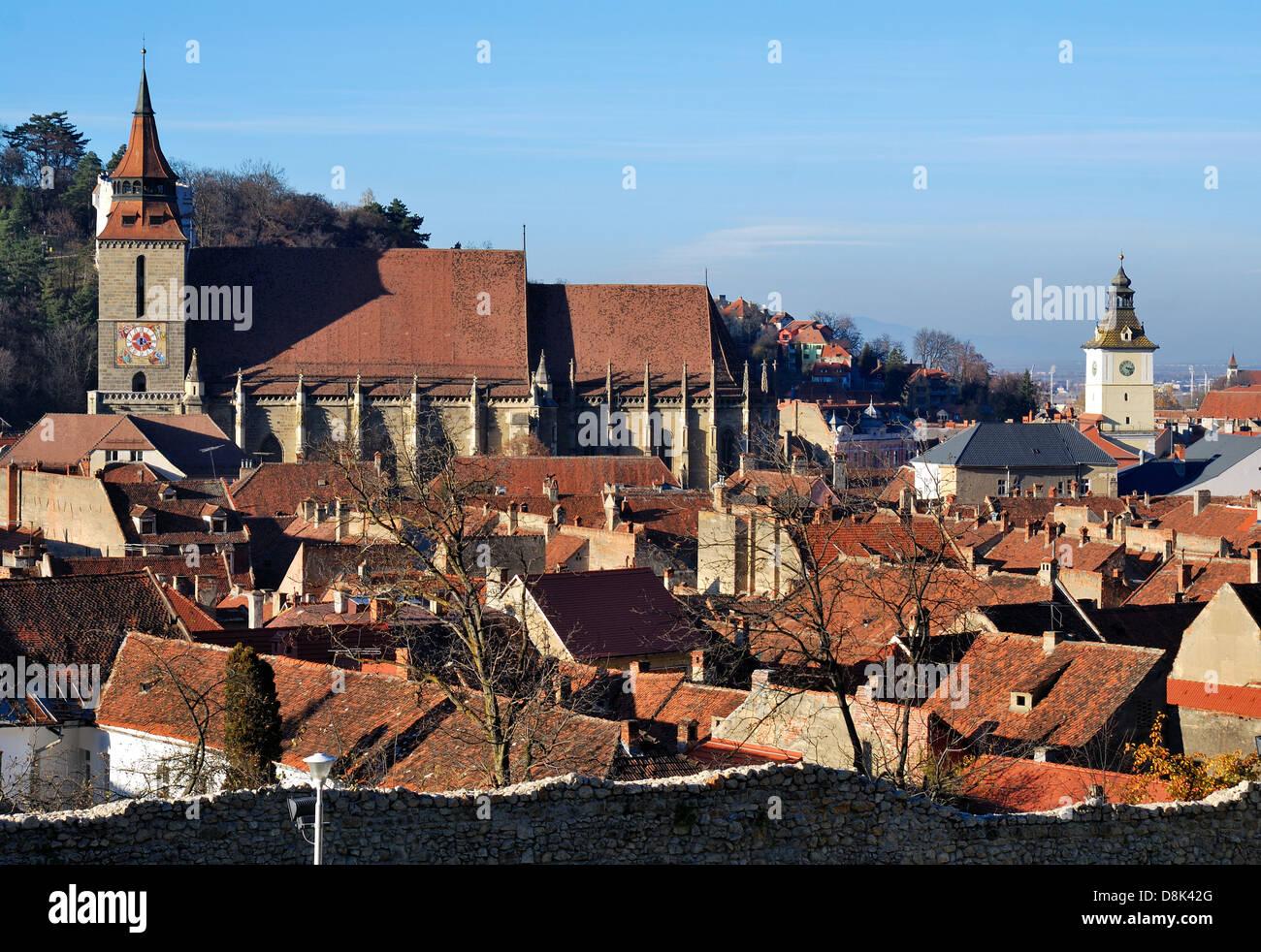 Brasov medieval downtown with Black Church. Transylvania, Romania. - Stock Image