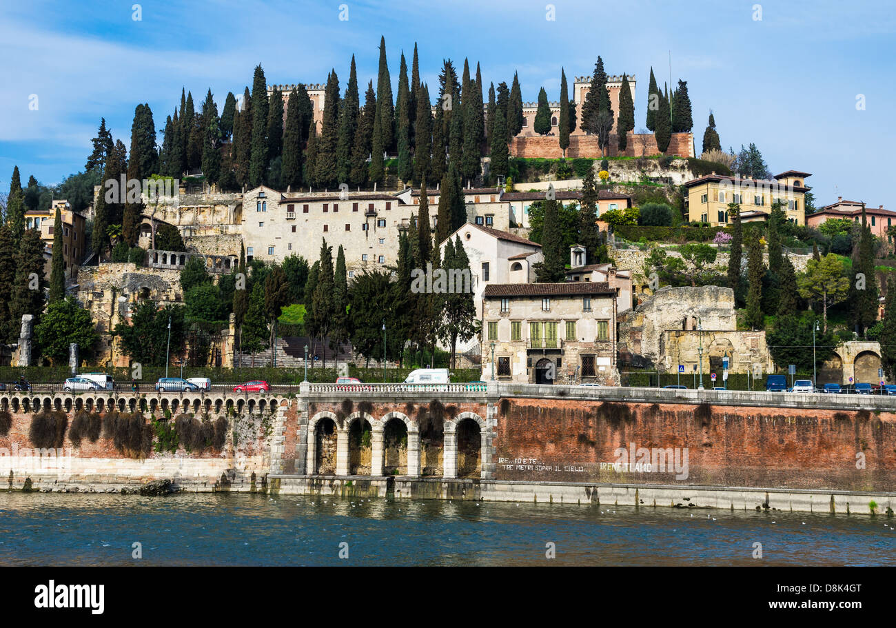 Roman Theater and San Pietro hill seen from Adige river. Verona, Italy. - Stock Image