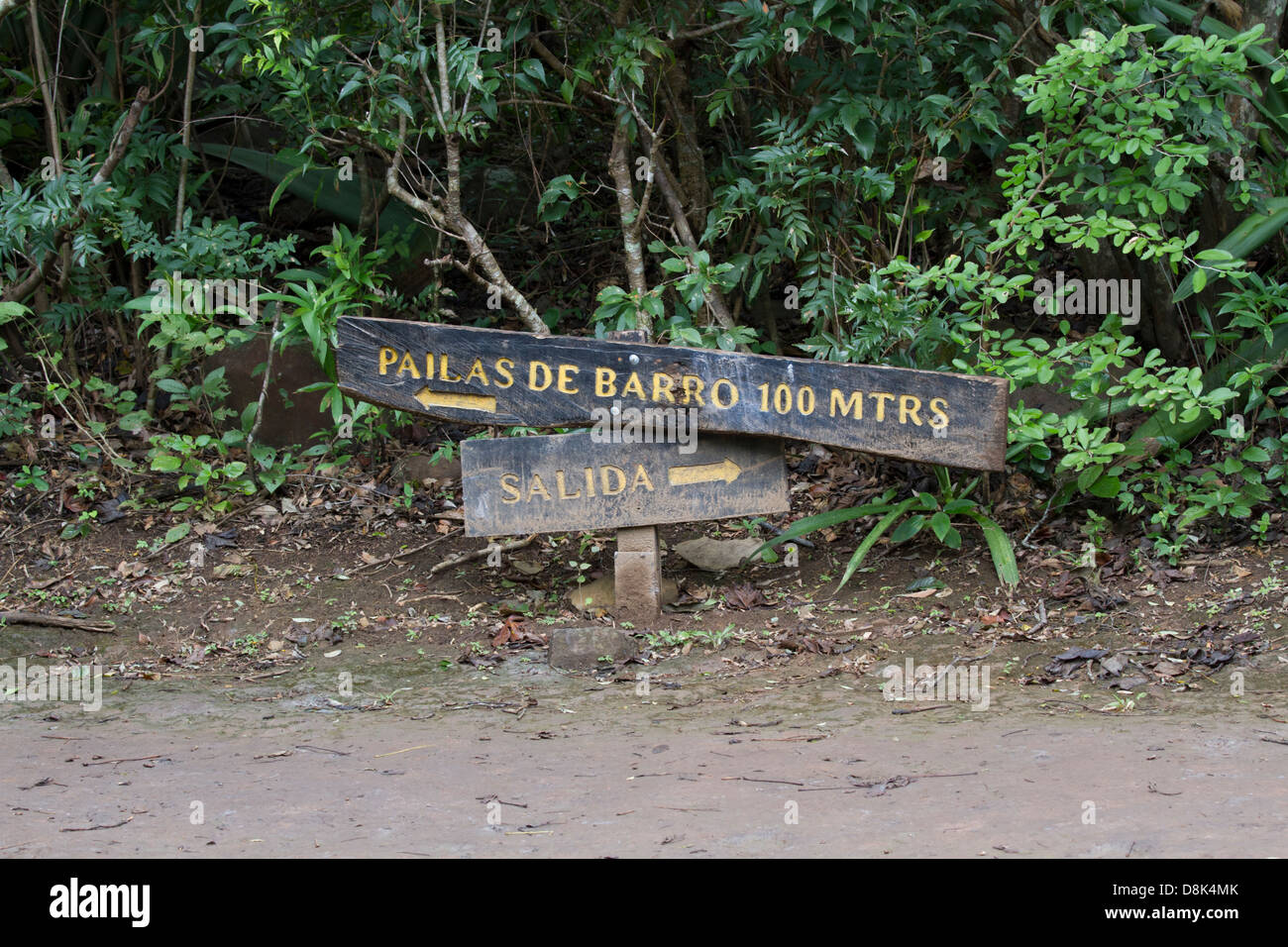 Mud Pots, Pilas de barro, Bubble, Sign, Rincon de la Vieja National Park, Costa Rica - Stock Image