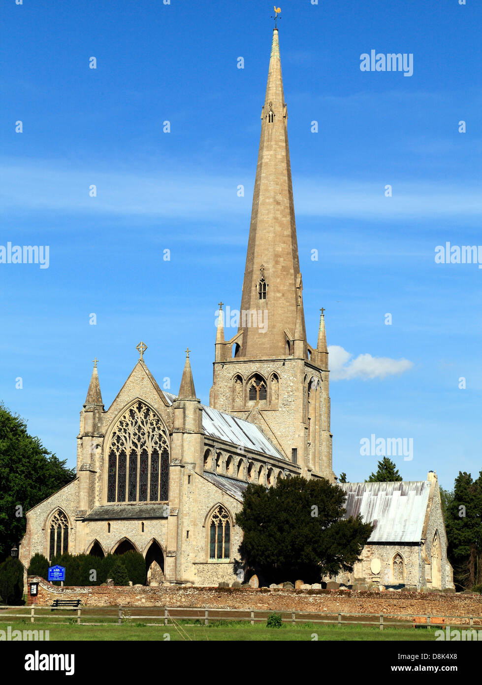 Snettisham, Norfolk, medieval church with spire, England, UK, English churches spires - Stock Image
