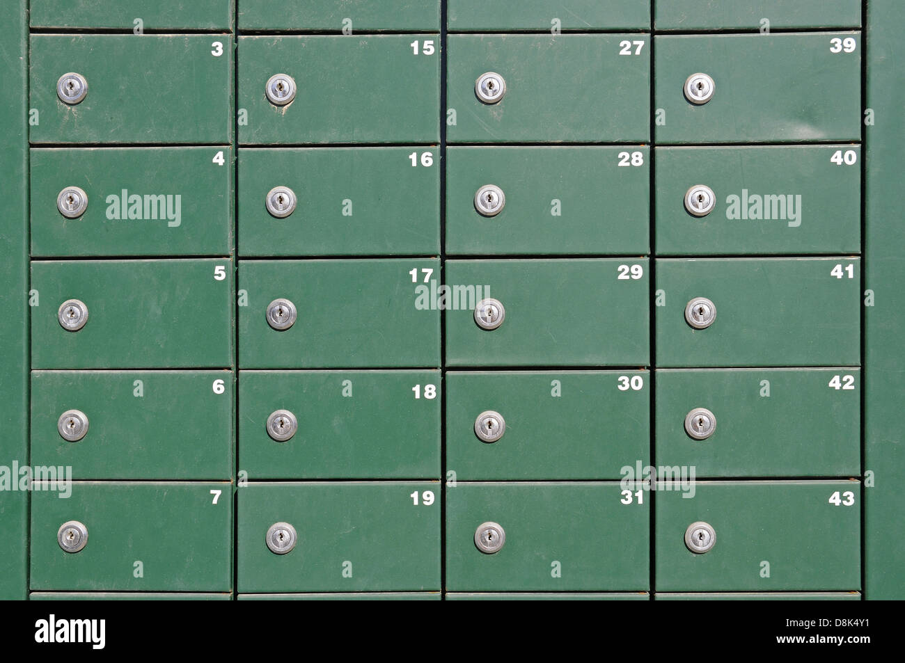 green mailboxes Stock Photo