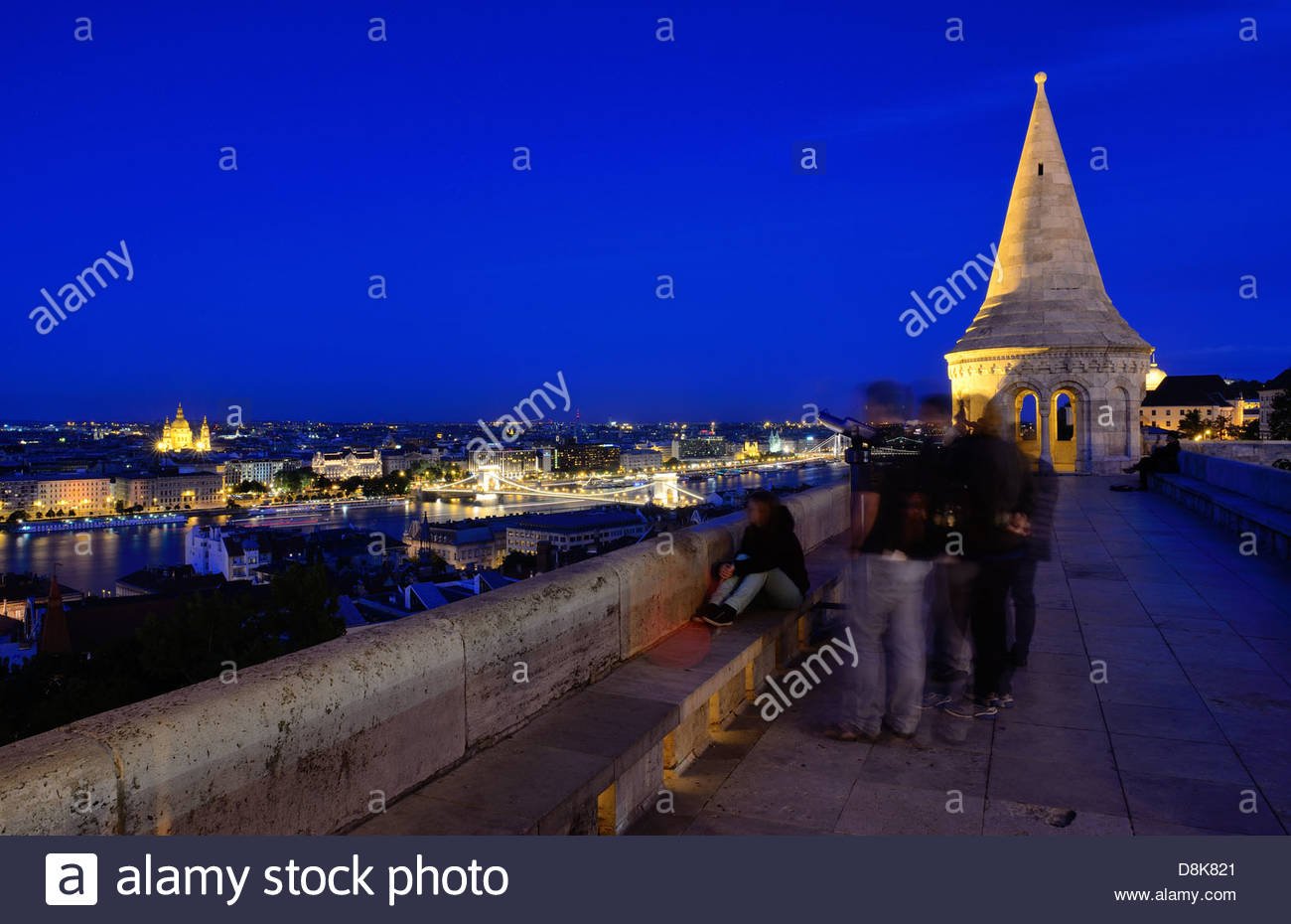 People watching panorama of Budapest and Danube from Fishermans bastion - Stock Image