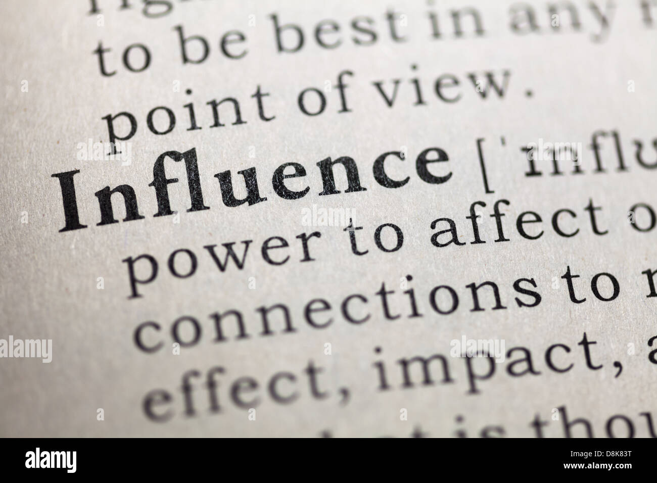 Dictionary definition of the word influence. - Stock Image
