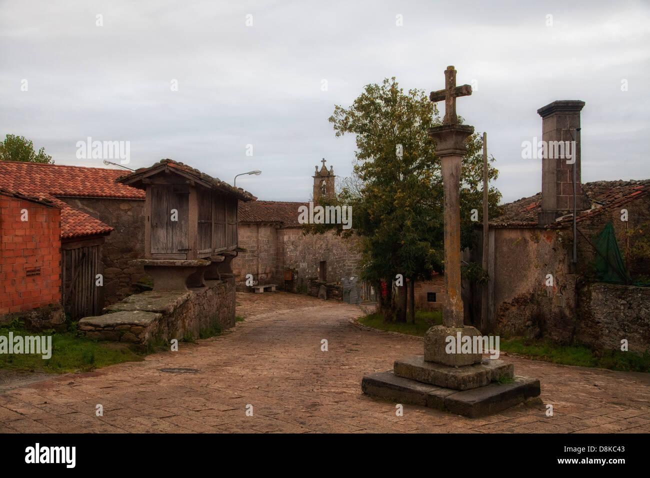 The Camino to Santiago de Compostela, as it passes through the historic plaza of  Gonzar Spain. - Stock Image