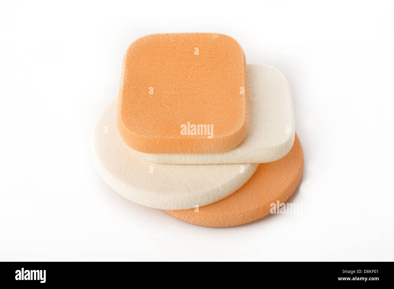 cosmetic sponges on white background - Stock Image