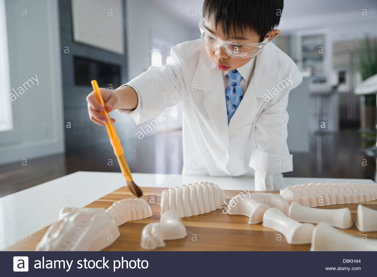 Boy pretending to be scientist at home - Stock Image
