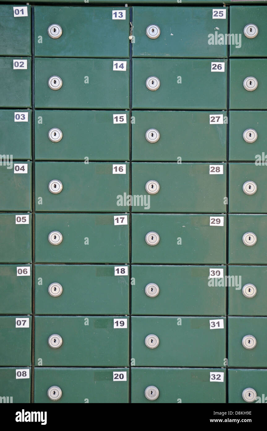 Viele gruene Briefkaesten Stock Photo