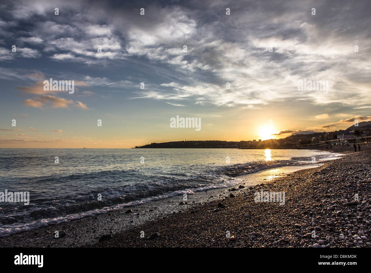 Winter seascape landscape Cote d'Azur Stock Photo