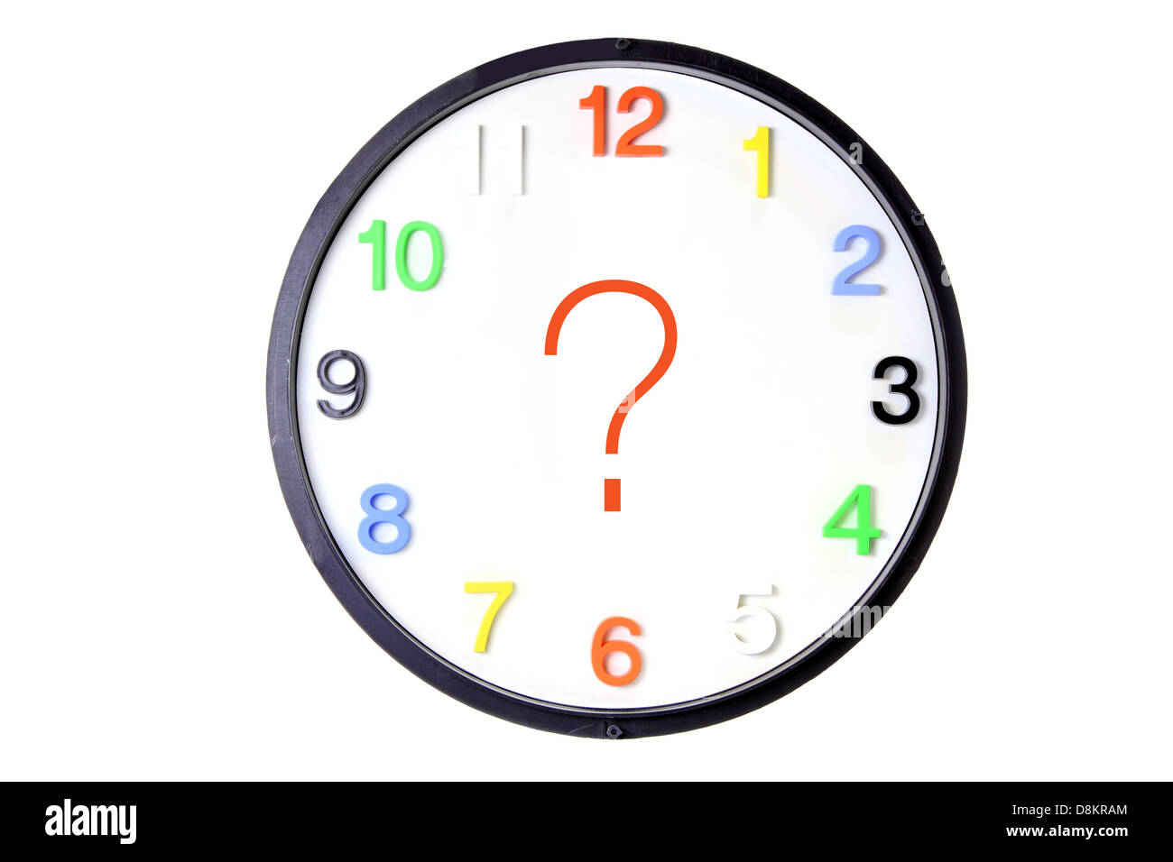 Clock with Question Mark - Stock Image