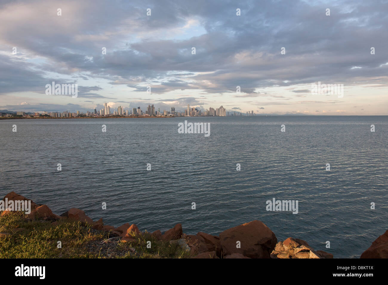 Panoramic view towards Downtown Panama City, Panama - Stock Image
