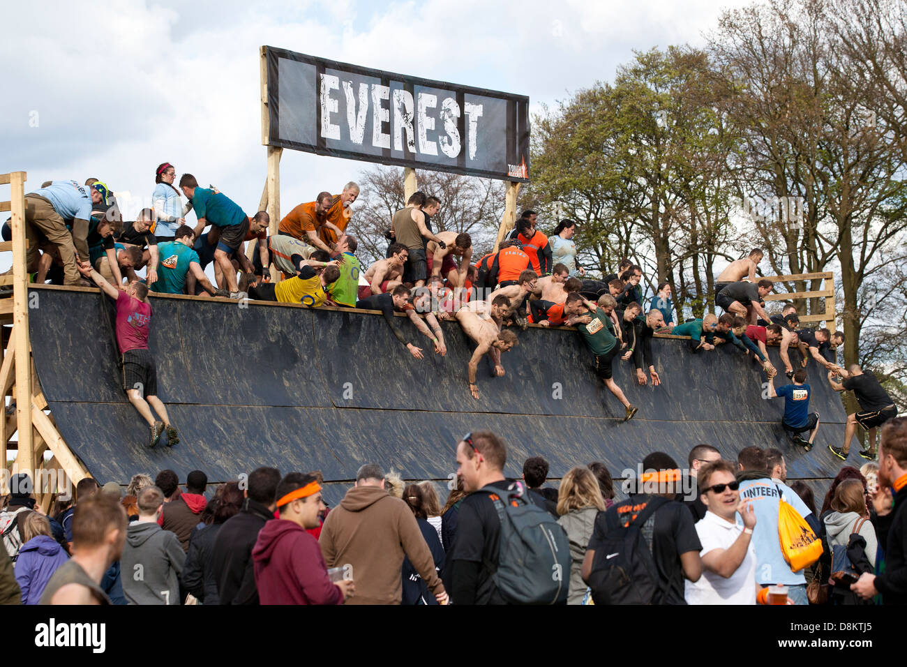 Participants at Tough Mudder 2013 (an endurance event) in Kettering/North East London - Stock Image