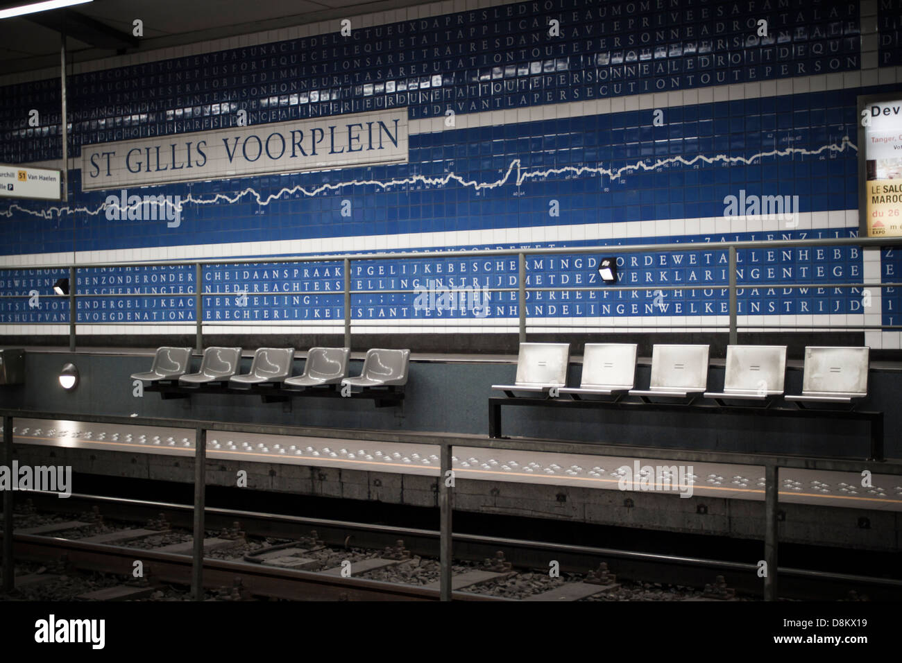 Typical station of brussels, St. Gillig station - Stock Image