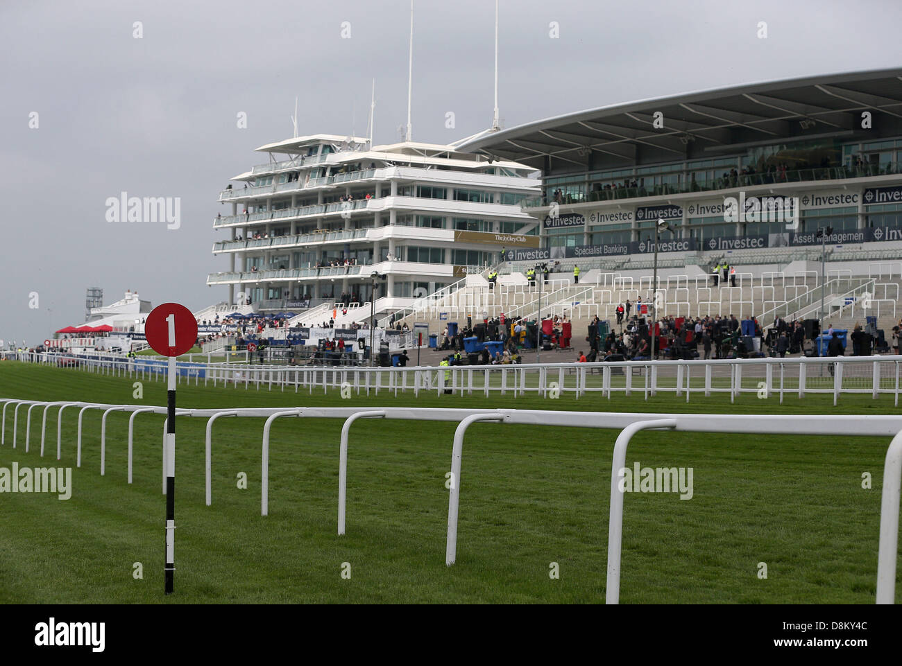 Epsom Downs, England, UK. 31st May 2013. General View (GV) of the main grandstands during the Investec Ladies Day - Stock Image