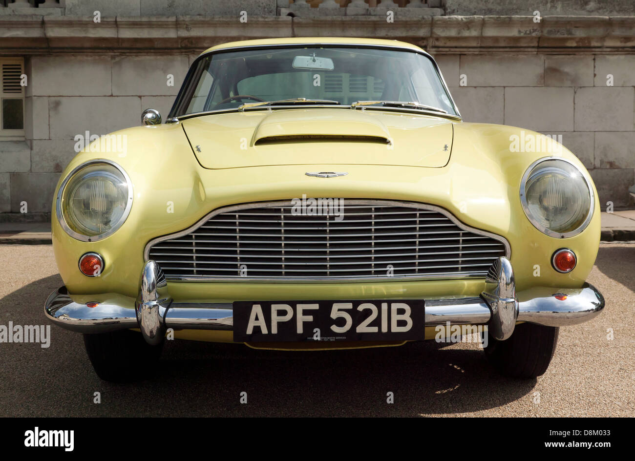 Front View Of A Classic Yellow 1964 Aston Martin Db5 On Display At Stock Photo Alamy